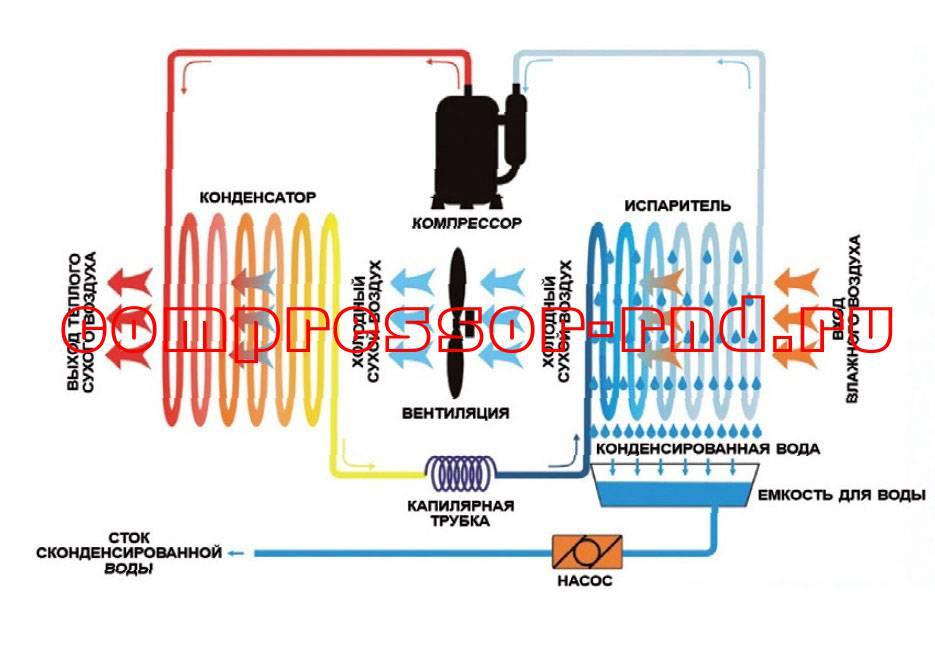 Принцип работы осушителя воздуха конденсационного типа