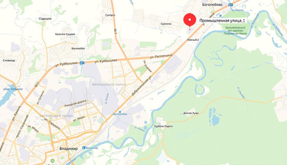 Географическое расположение офиса во Владимире